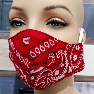 RED DOUBLE LAYER BANDANA PRINT FACE MASK